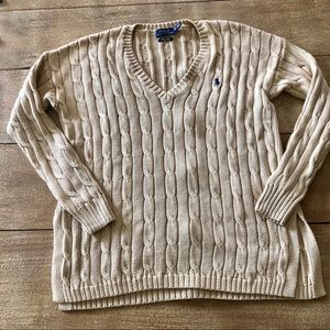 Polo Ralph Lauren tan cable knit slit sweater XS